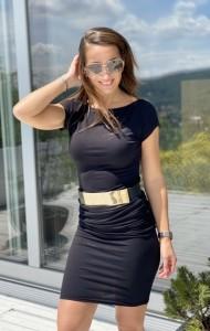 Fekete csónaknyakú ruha-IR10