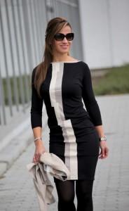 Fekete bőrbetétes ruha-IRT08