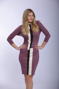 Bőrbetétes kosbor színű ruha-IRT11