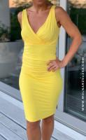 Sárga ujjatlan ruha szűk aljjal-MZK02