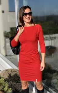 Piros csónaknyakú ruha pamutból -AD2