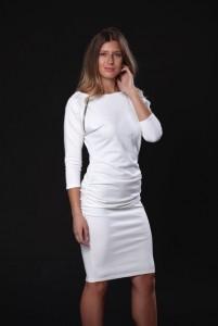 Törtfehér zipzáras csónaknyakú ruha-EHV08
