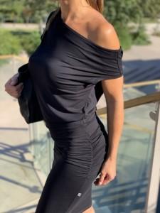 Asszimetrikus fekete ruha-IRT65
