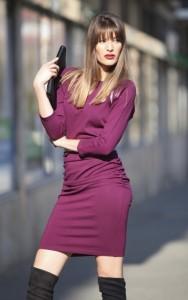 Borszínű zipzáras ruha-IRT56