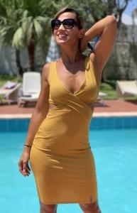 Szexi nyári ruha  okkersárgában-PR15