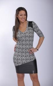 Fekete/fehér ruha bőrhatású anyaggal-IRT60